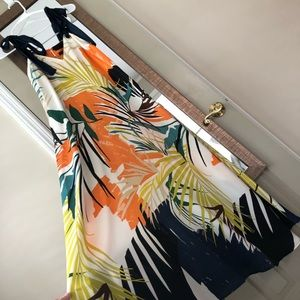 Dresses & Skirts - Palm Print Maxi Dress with ties at shoulders